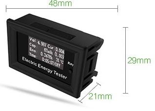 Цифровой вольтметр/амперметр 100В/15А счетчик энергии постоянного тока (встраиваемый)